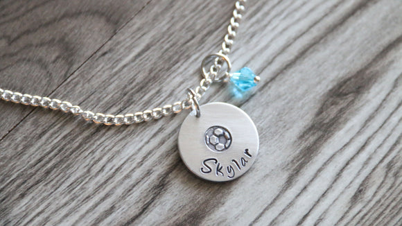 Soccer Personalized Necklace Name and Birthstone