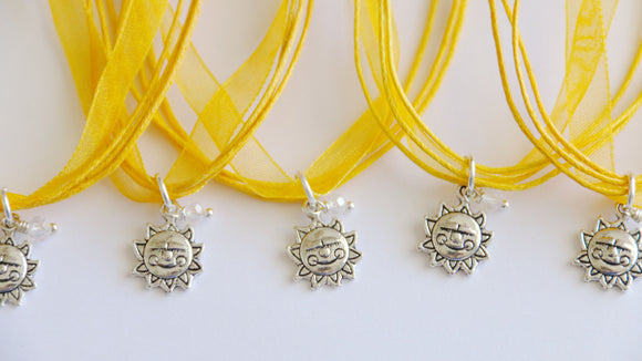 Sunshine Party Favor, Ribbon Necklace with Sun