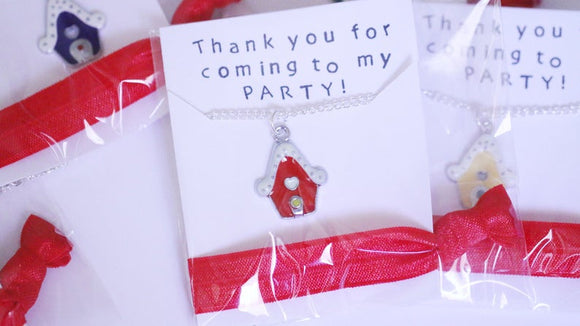 Gingerbread House Party Favor Necklace with Hair Tie, 5 Packs