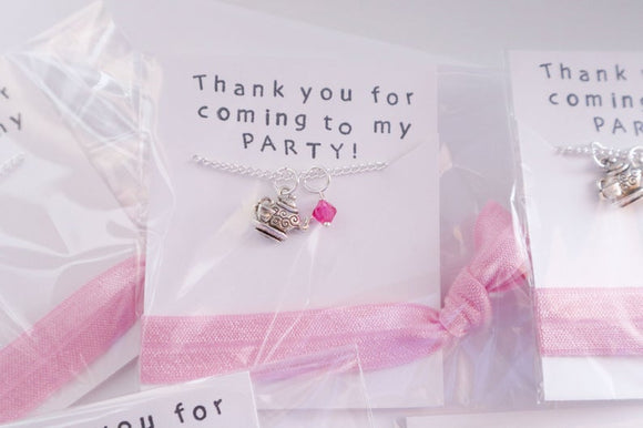 Tea Pot Party Favor Necklace with Hair Tie, 5 Packs
