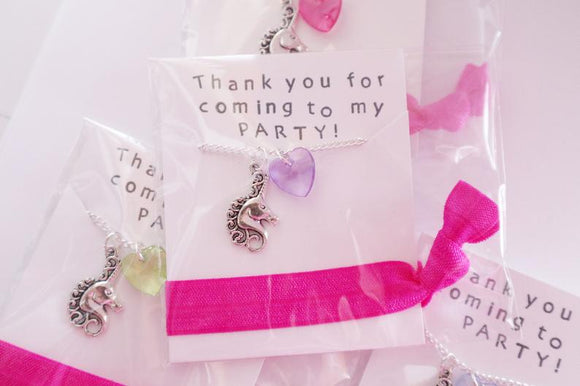 Unicorn Party Favors Necklace with Hair Tie, 5 Packs
