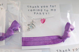 Unicorn with Heart Necklace and Hair Tie Party Favors, 5 Packs