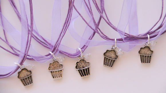 Cupcake Party Favors, Baking Party Favor, Ribbon Necklace with Cupcake