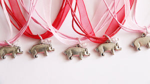Pig Party Favors, Ribbon Pig Necklace