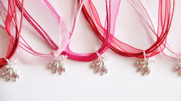 Elephant Party Favors, Elephant with Ribbon Necklace