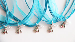 Penguin Party Favors, Blue Penguin Ribbone Necklace