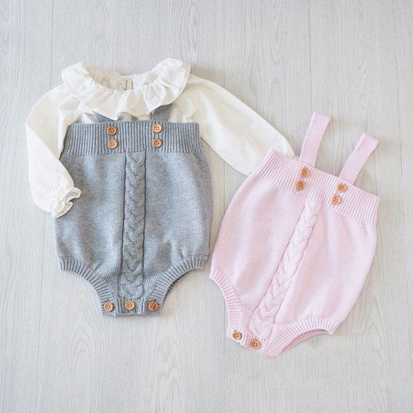 Grey Pink Overall Button Infant Rompers Princess Kids
