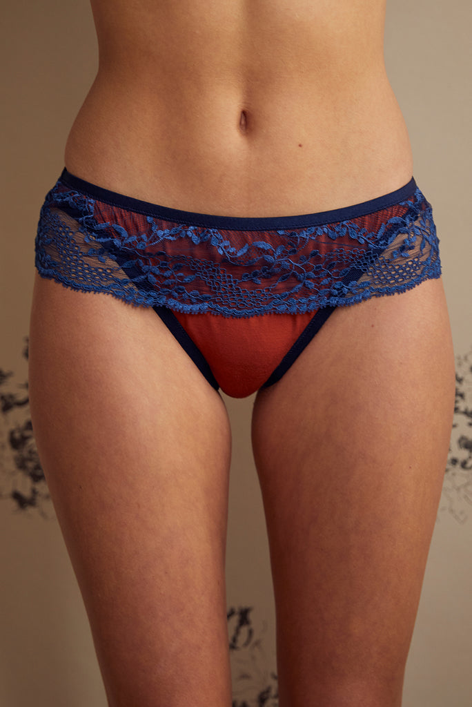 Holly Dark Orange Bamboo & Lace Brief