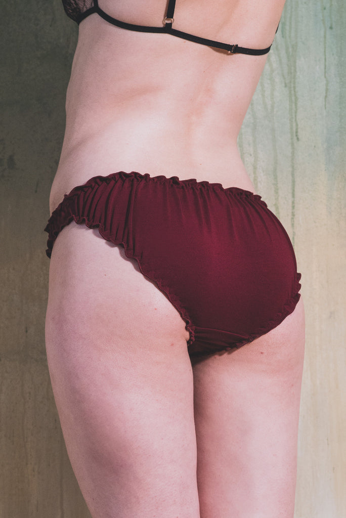 organic ethical lingerie brief panty knicker bridal sexy erotic everyday red ruby burgundy bamboo jersey, culotte, mutandine, rouge, rosso, bambou, bambu