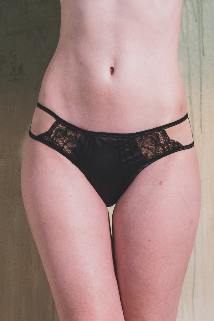 Monroe Black Satin Brief