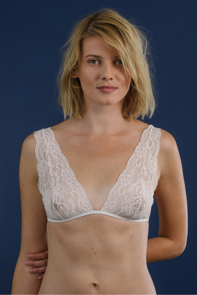 organic ethical lingerie bra lace lace bridal sexy everyday white cream plus size, reggiseno, soutien gorge