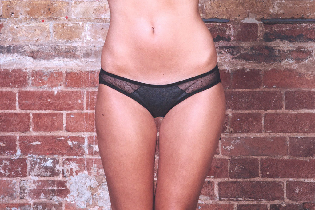 Anna Charcoal Bra & Brief Set - Luva Huva - ethical lingerie
