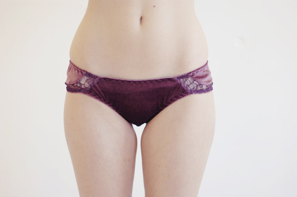 Wine Lees Velvet & Lace Brief