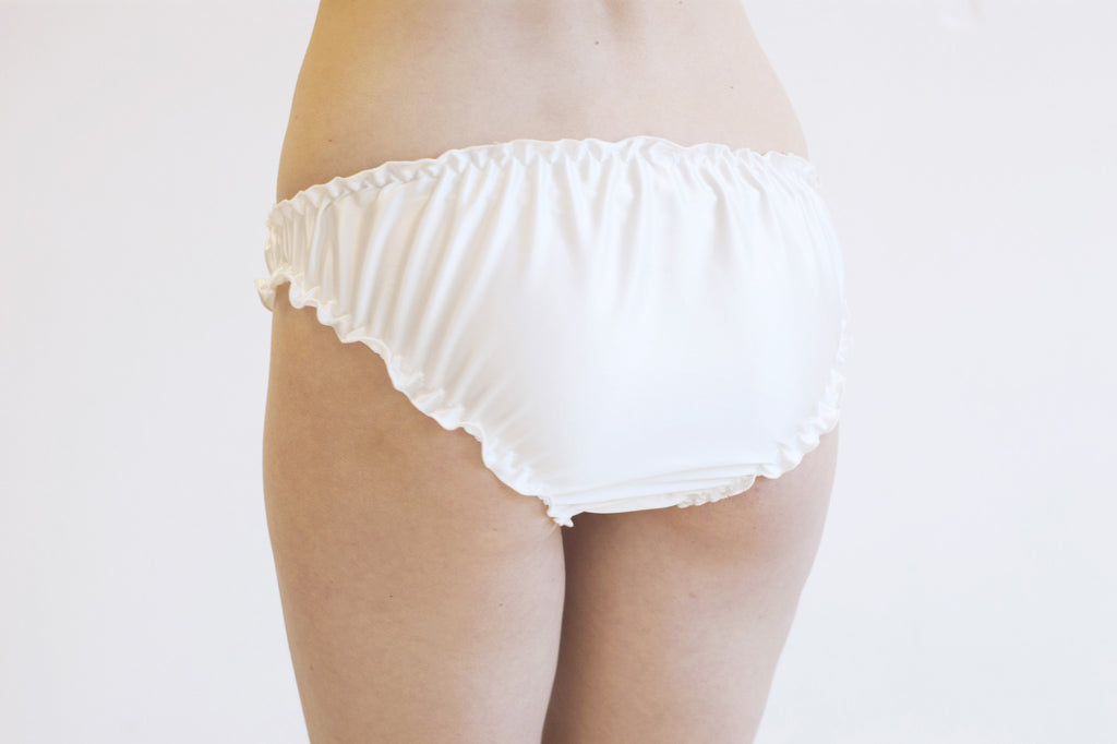 Cream Satin Frilly Knicker