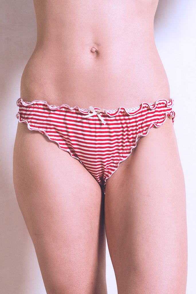 Red & Cream Stripe Frilly Knicker