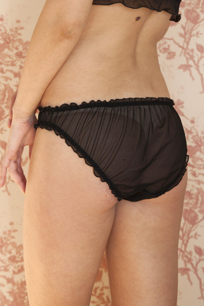 organic ethical lingerie women, knicker, panty, panties, everyday sexy, frilly, sheer, see through, black chiffon, noir nero voile, transparent, culotte, mutadine, femme, underwear, sous vetements