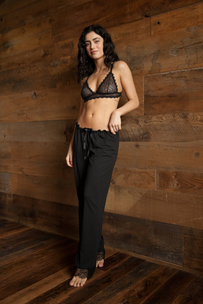 Camille Organic Cotton and Lace Loungepant - Luva Huva - ethical lingerie