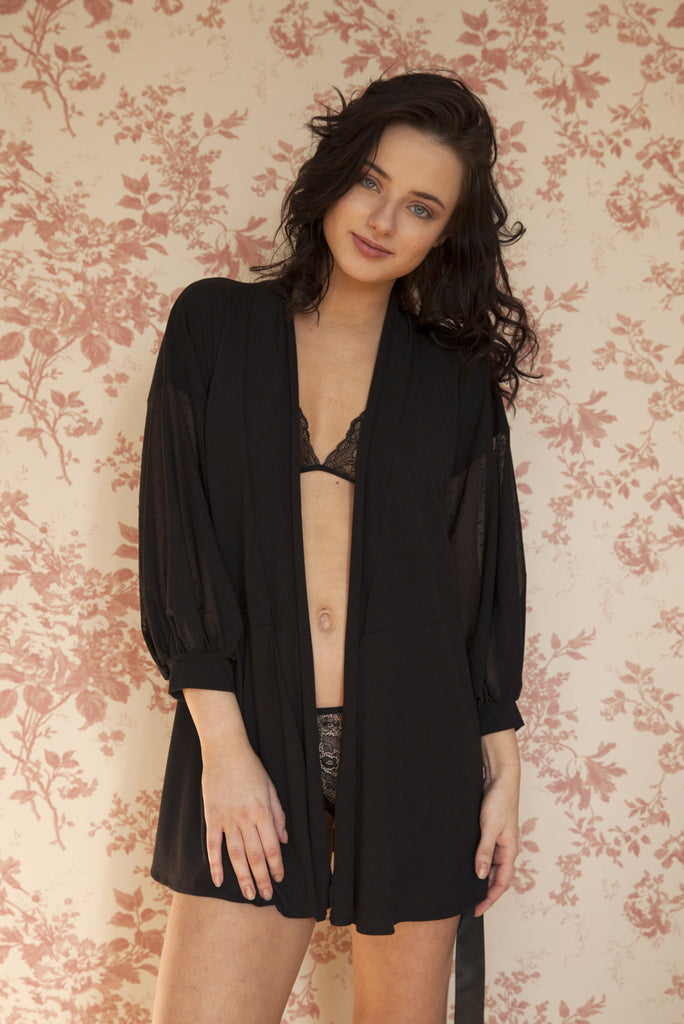 organic ethical lingerie women, robe, dressing gown, pyjama pajama, everyday black mesh dot, sheer, see through, pigiama noir nero resille bambou bambu, plumetis, transparent, negligee, deshabille, notte, robe de nuit