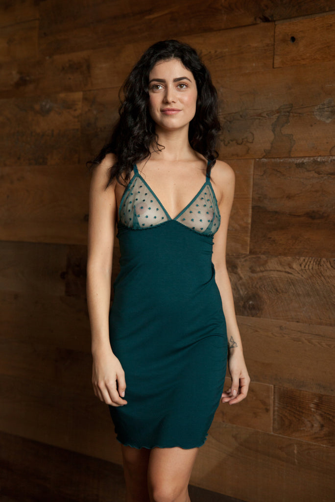 Emily Forest Green Bamboo and Lace Slip - Luva Huva - ethical lingerie