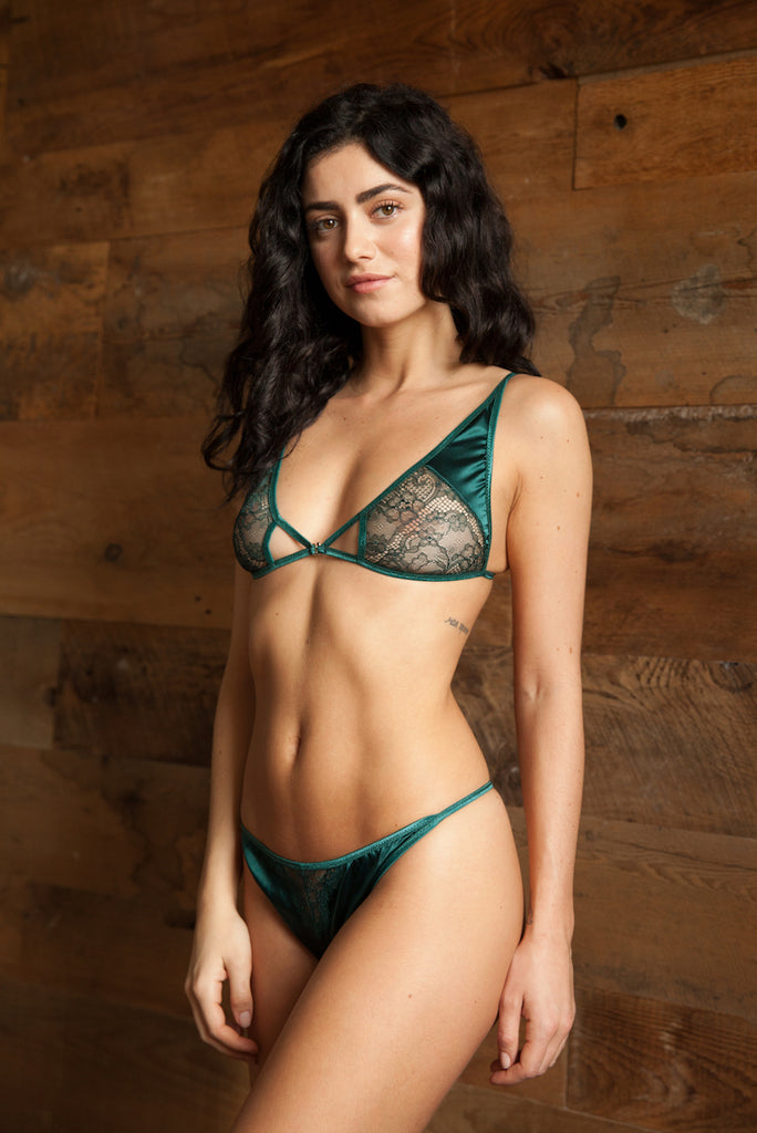 Ophélie Green Satin Bra & Thong Set