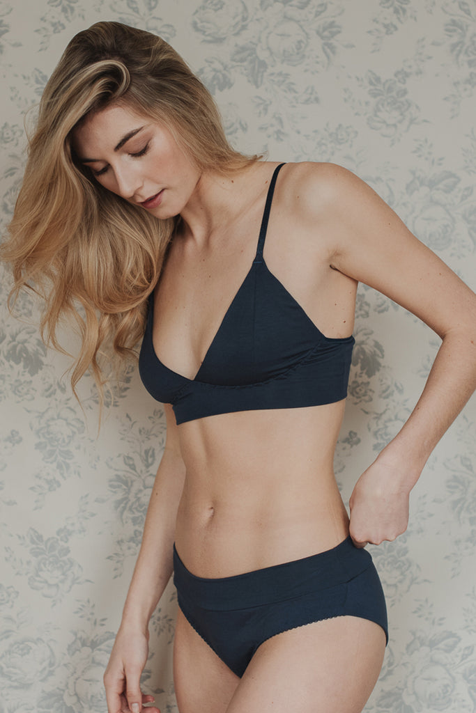 Phoebe Blue bamboo Bra & Brief Set