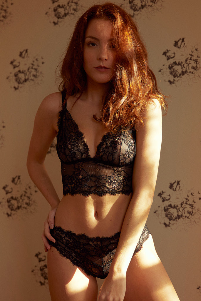 Sylvia Black Lace & Velvet Bra & Brief Set - Luva Huva - ethical lingerie
