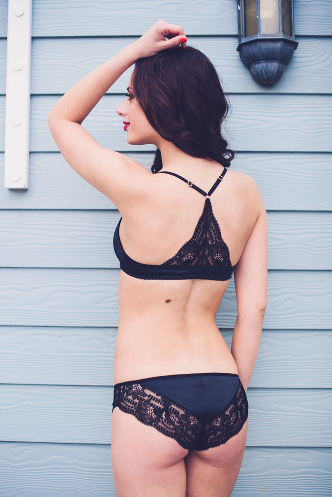 Agatha Black Satin Bra & Brief Set - Luva Huva - ethical lingerie