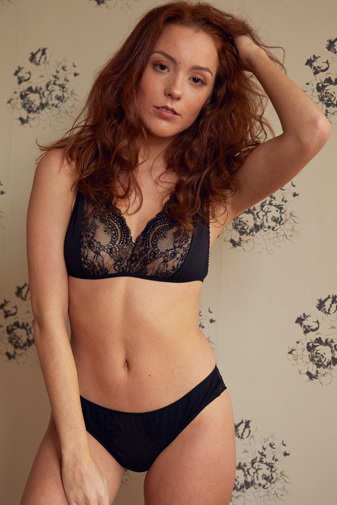 Alice Black Bra & Brief Set - Luva Huva - ethical lingerie