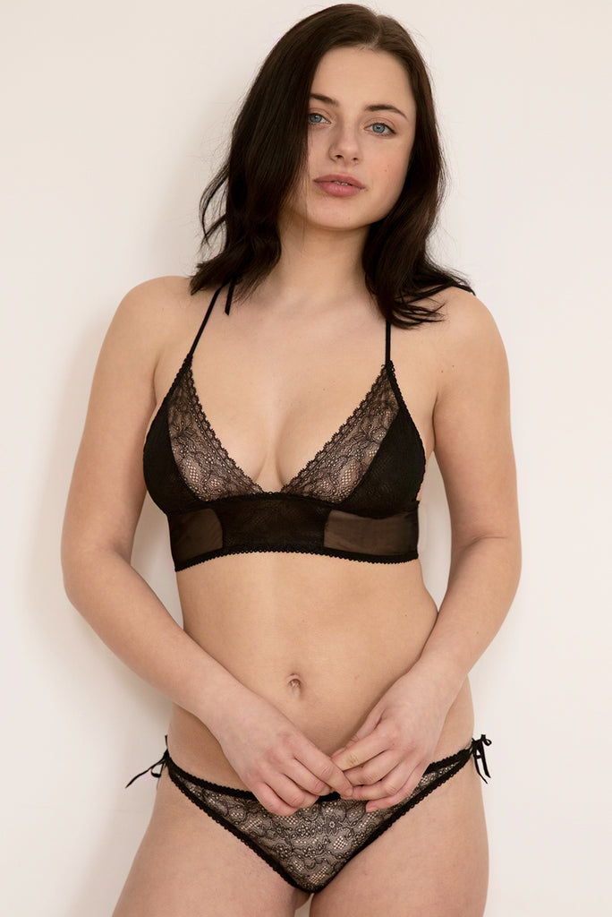 True Romance Black Lace Bra & Brief Set - Luva Huva - ethical lingerie
