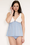 Blue Dot Babydoll & Knicker Set - Luva Huva - ethical lingerie