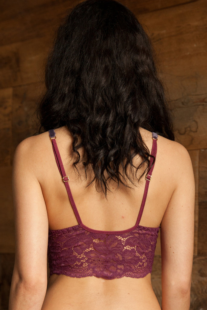 Sylvia Burgundy Lace Bra & Brief Set - Luva Huva - ethical lingerie