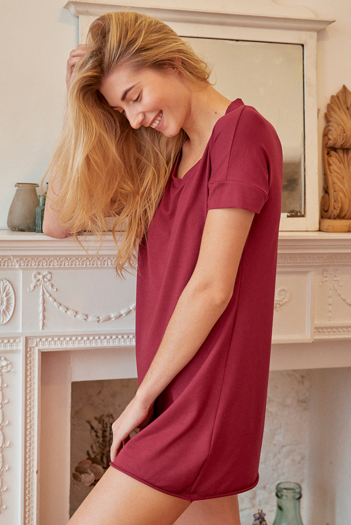 READY TO SHIP - Claret bamboo long line T-shirt (SMALL)