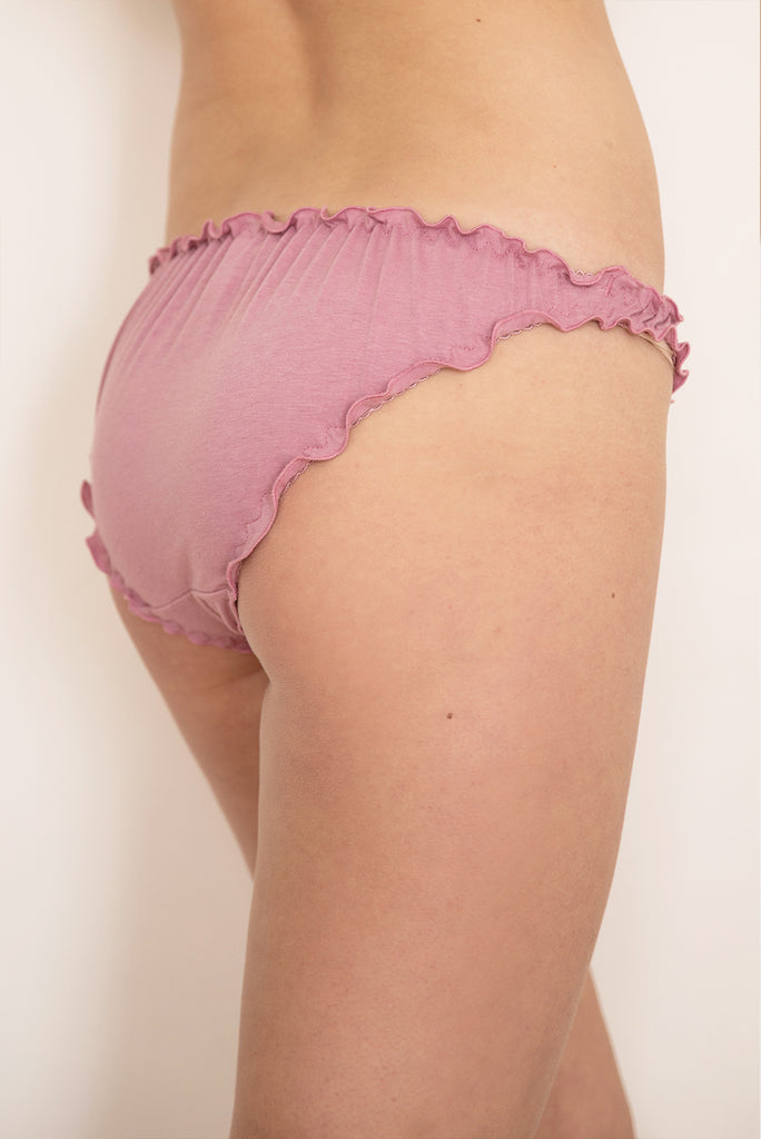 Dusky Rose Organic Cotton Frilly Knicker - Luva Huva - ethical lingerie