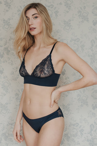Daisy Black Bamboo & Lace Bra Set
