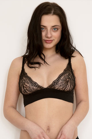 Elle Black Mesh Frilly Bra