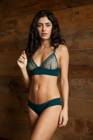 Sylvia Black Lace & Velvet Bra & Brief Set