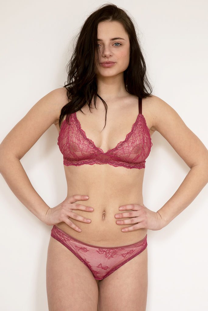 Ida Pink Lace Bra & Thong Set