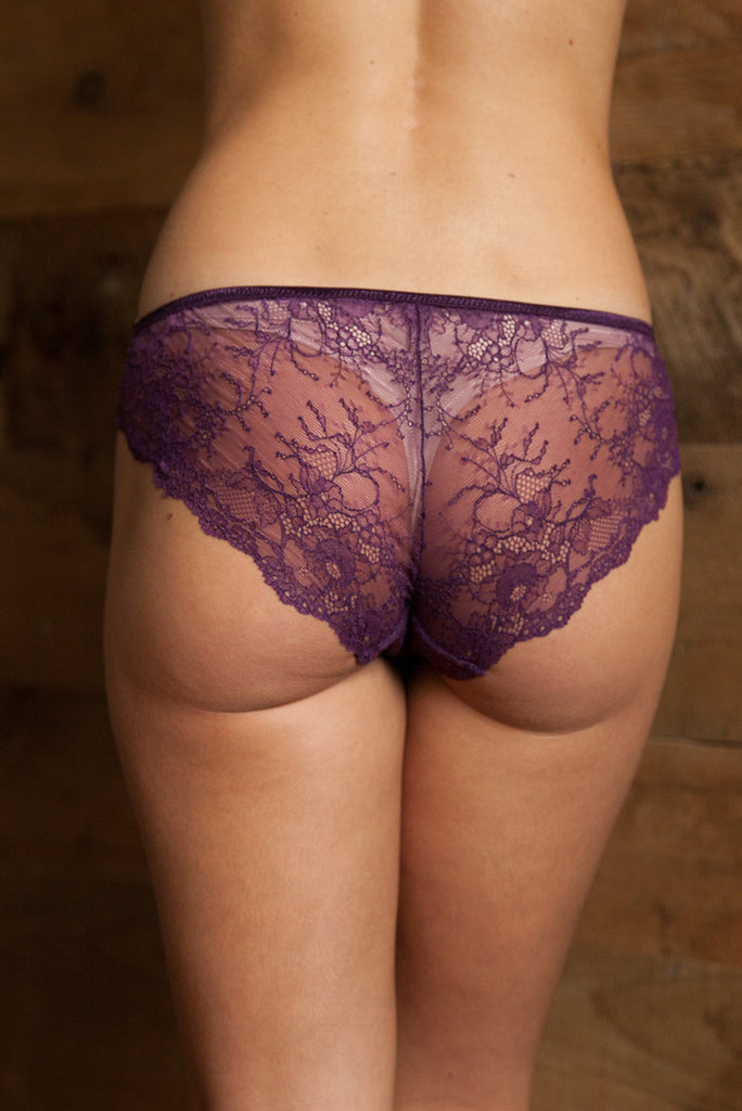 Ida Plum Lace Brief - Luva Huva - ethical lingerie