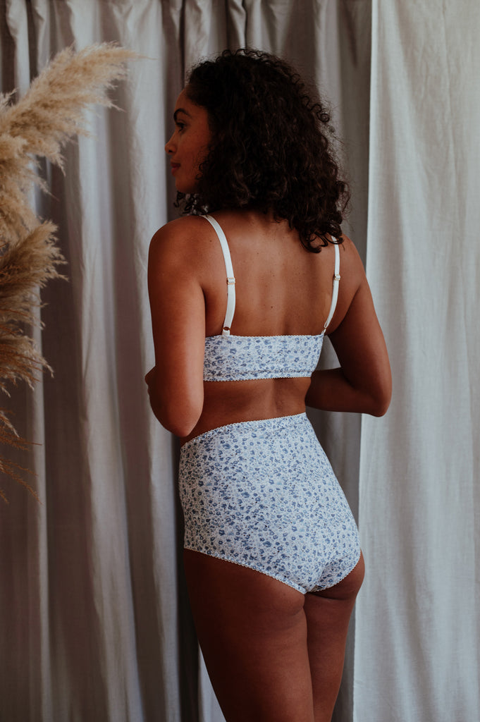 Fiona Blue Bralette & High Waisted Brief