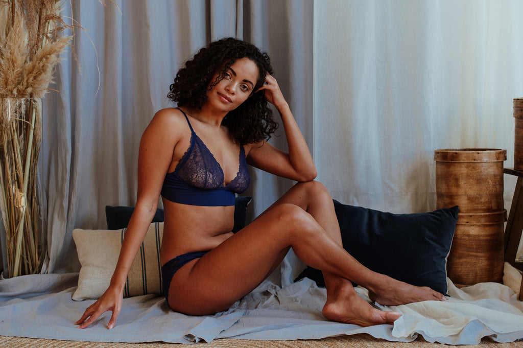 Emily Egyptian Blue Bra & Brief Set