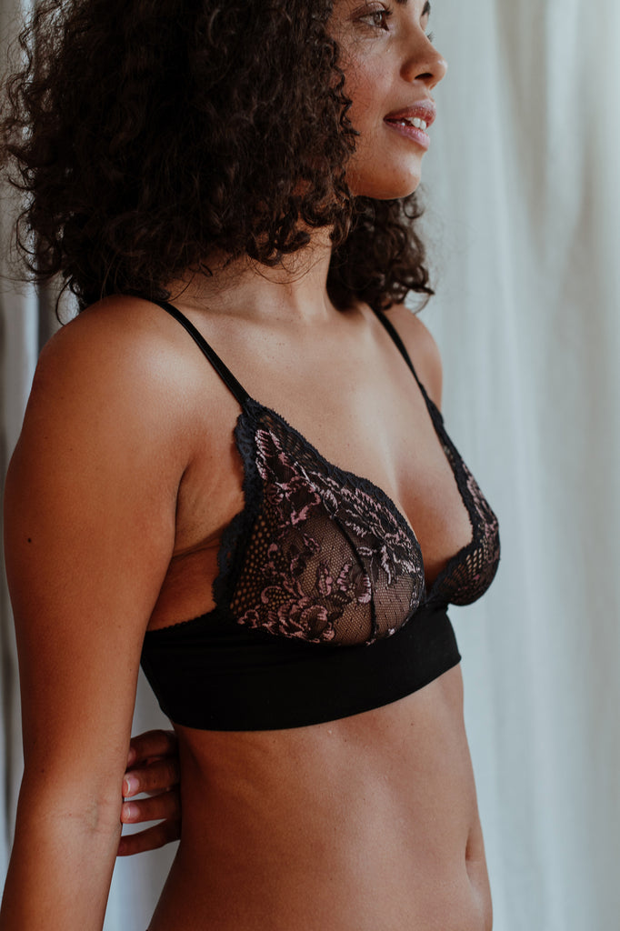 Emily Black Rose Bra & Brief Set