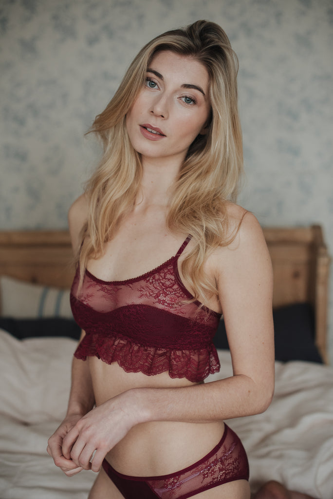 Daisy Burgundy bamboo and lace Bra Set