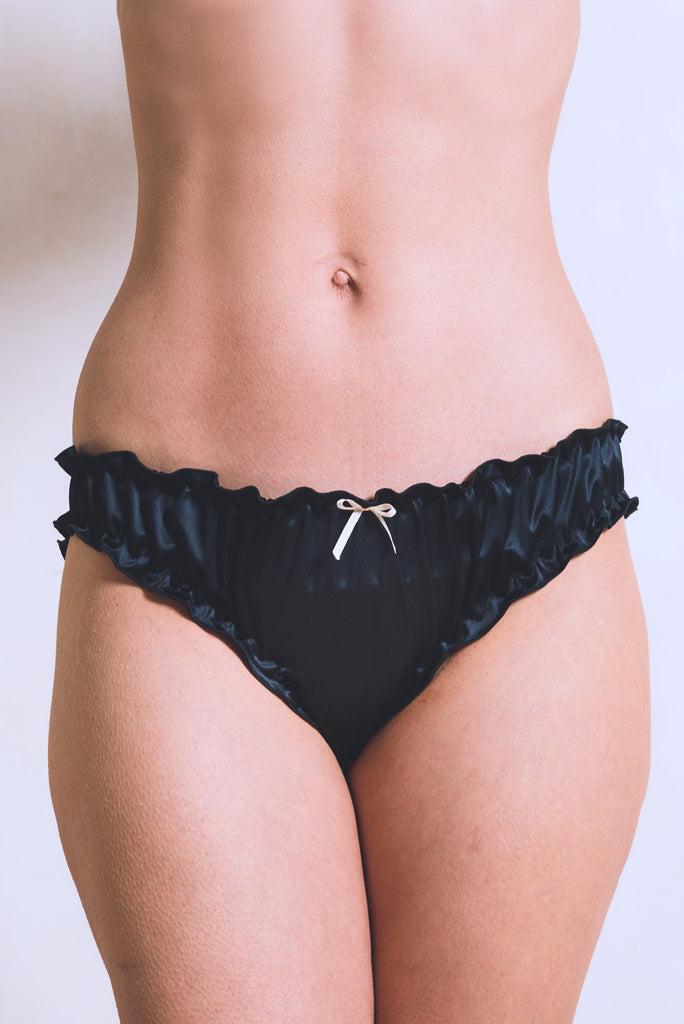 organic ethical lingerie brief panty knicker bridal sexy everyday black satin frilly, culotte, mutandine,noir, nero,