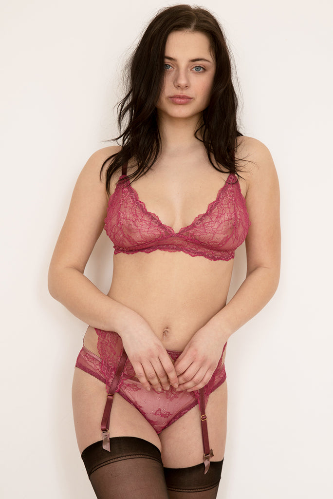 Ida Pink Lace Bra, Brief & Suspender Belt Set