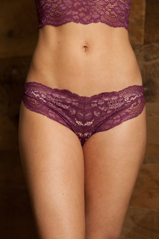 Sylvia Burgundy Lace Bra & Brief Set