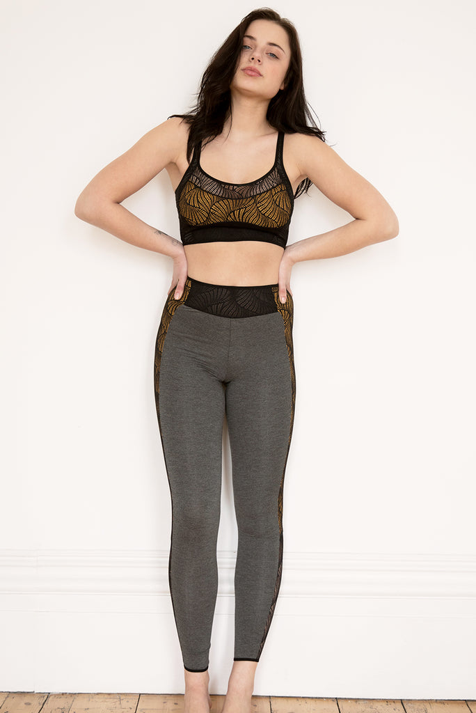 Cyclone Yellow Crop Top & Legging Set - Luva Huva - ethical lingerie