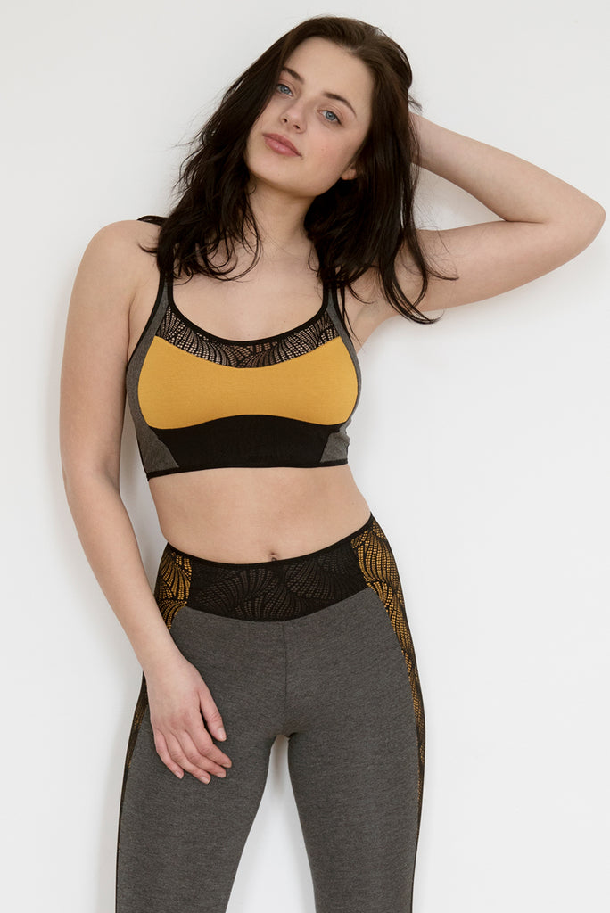 Cyclone Yellow Crop Top & Legging Set