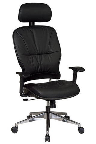 Space Leather Managers Chair w/2-Way Adjustable Headrest