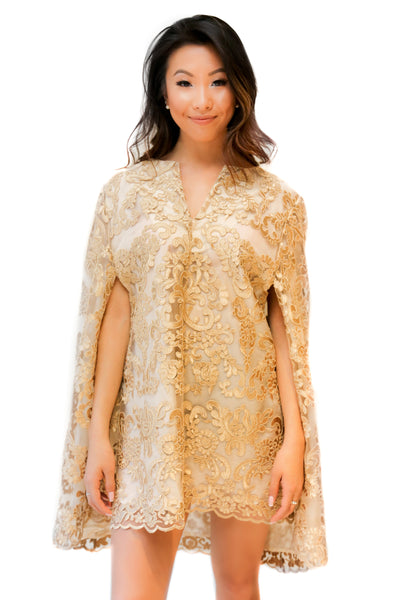 Gold Lace Cape Dress