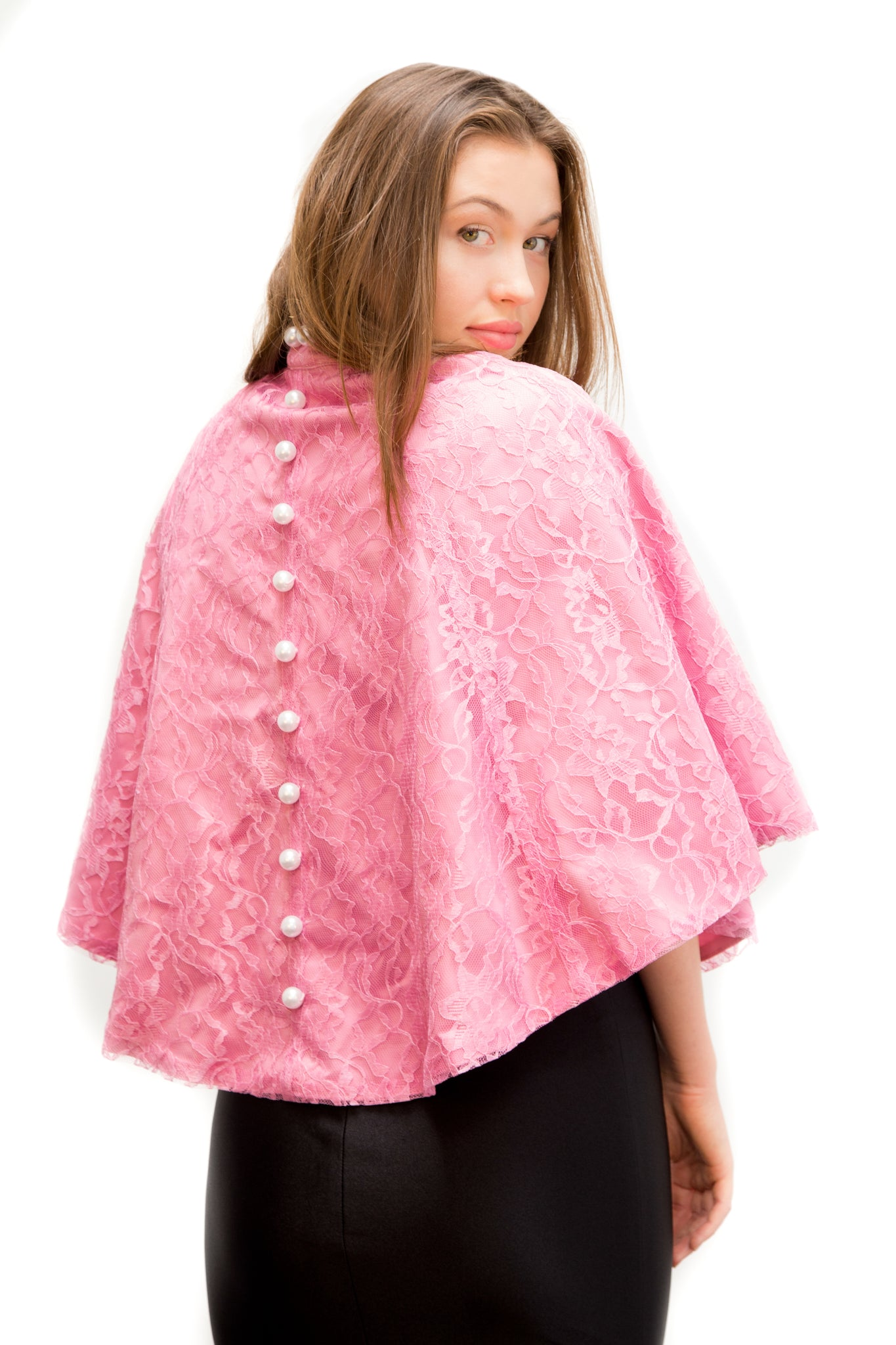 Pink Lace Pearl Cape